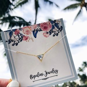 Gold Triangle Marble Dainty Necklace